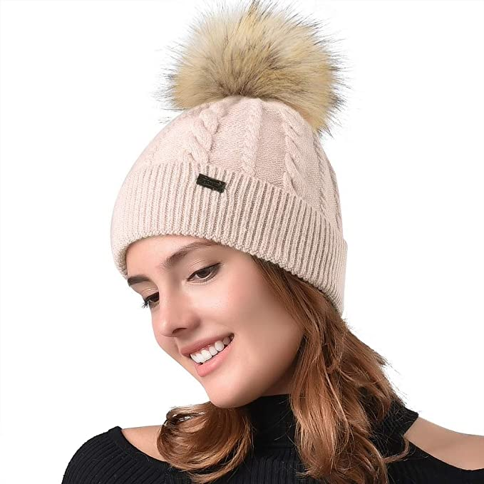 1b042cb3ed6 FURTALK Women Winter Pom Knit Hat Cashmere Beanie Caps with Faux Fur ...