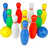 Bowling Pins Ball Toys Small Plastics Bowling Set Fun Indoor Family Games with 10 Mini Pins and 2 Balls, Educational Toy…