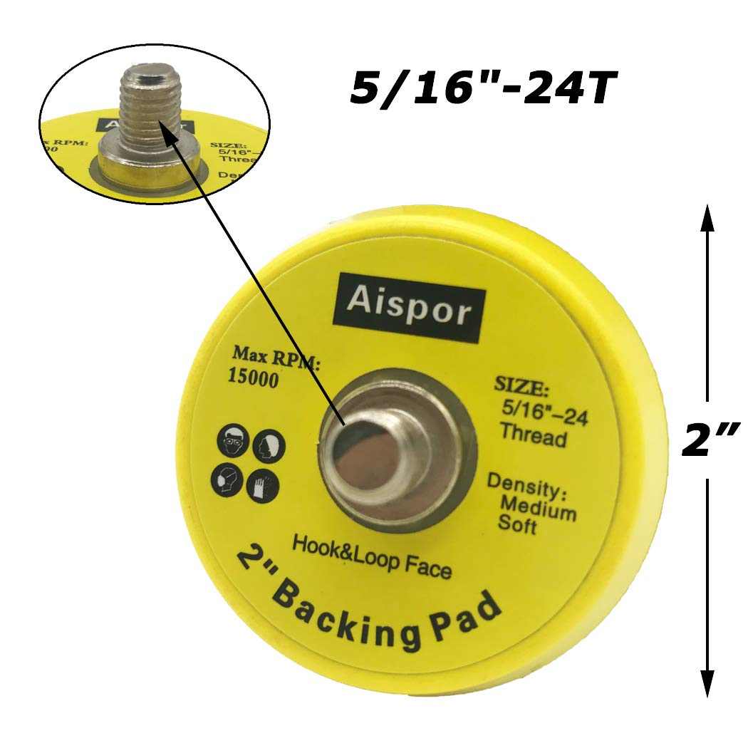 Aispor 5PCS 2 Inch Backing Pad 5//16-24 Thread Hook and Loop Backing Pad Buffing Plate for Air Sander and Dual Action Car Polisher
