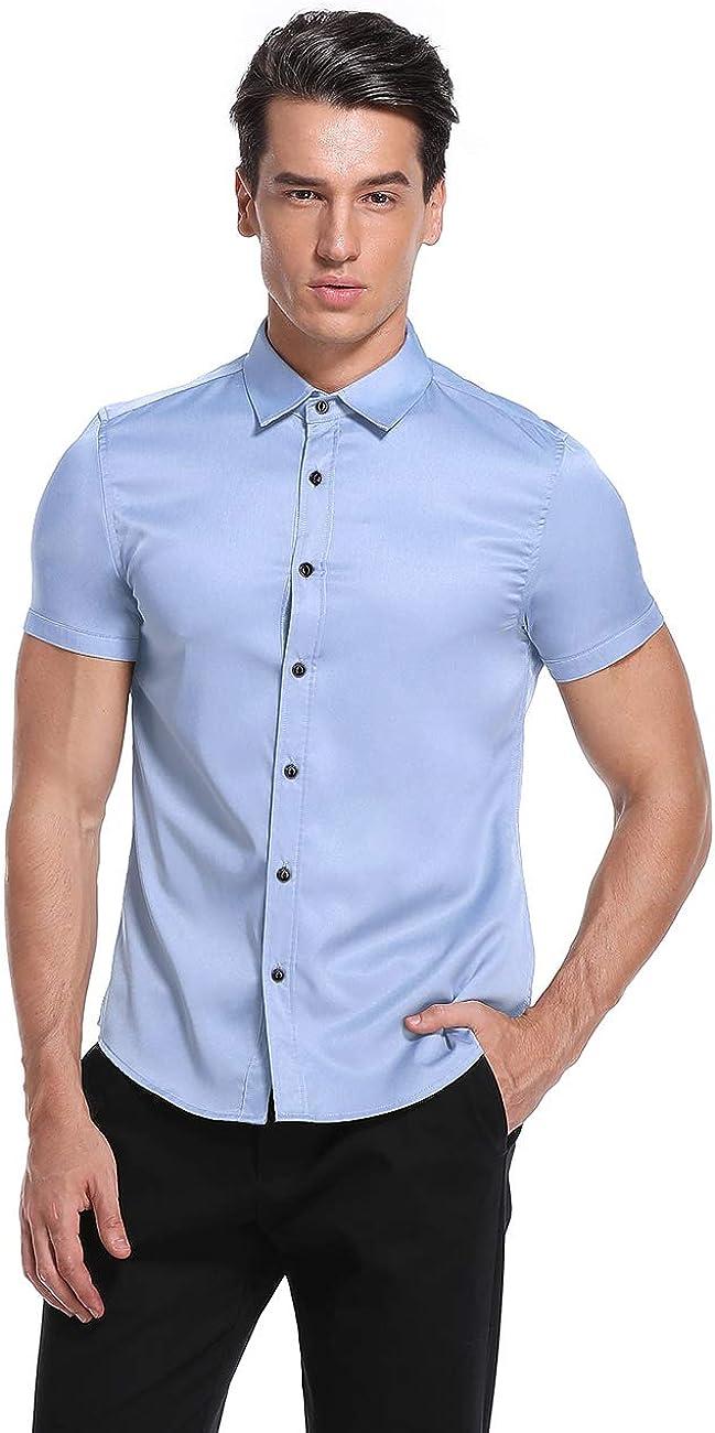 KUULEE Mens Dress Shirt Button Down Shirts Casual Slim Fit Bamboo Fiber Elastic Office Wedding Working Shirt