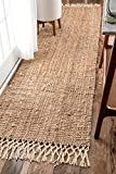 nuLOOM NCNT24A Handwoven Raleigh Wool Runner Rug, 2' 6' x 10', Natural