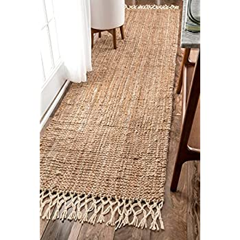 Amazon Com Nuloom Hand Woven Jute With Wool Fringe Runner