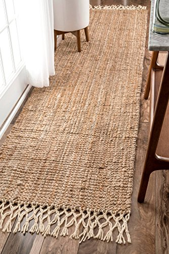 nuLOOM Hand Woven Jute with Wool Fringe Runner Area Rugs, 2' 6