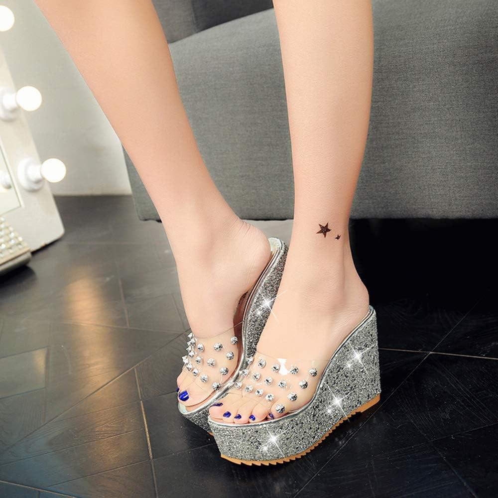 Yehopere Women Studded Platforms Sandal Bling High Heels Wedding Shoes Wedges Sandals