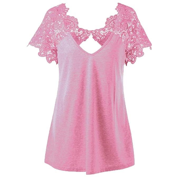 Camisetas de mujer elegante con encaje y manga corta - Disponible en varios colores.