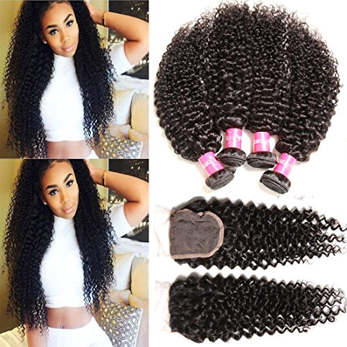 Sunber Hair Brazilian Virgin Curly Hair with Lace Closure Bleached Knots (18 20 22+14free Part Lace Closure) by Sunber