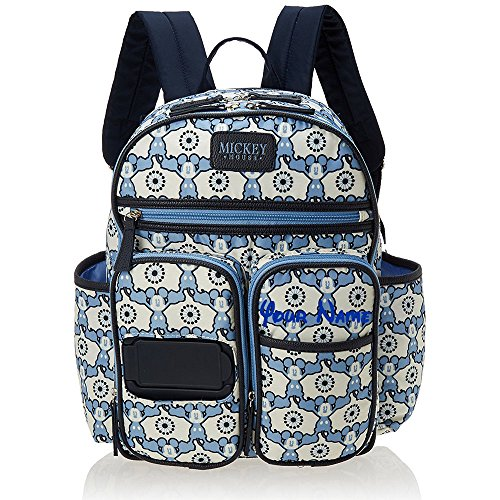 Personalized Disney Mickey Mouse Print Blue and White Multi-Pocket Functional Baby Backpack Book Bag Diaper Bag Gift Set - 4 Piece (4 Piece Diaper)