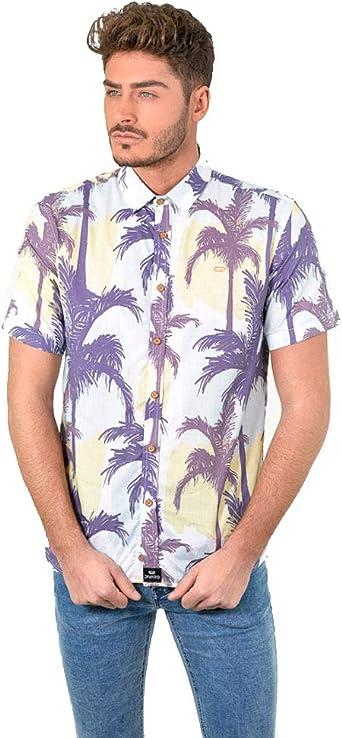 DIVARO - Camisa Estampado Palmeras Manga Corta Color Celeste - para Hombre: Amazon.es: Ropa y accesorios
