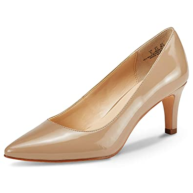 ad652305d8d JENN ARDOR Women s High Heels Ladies Pointed Toe Slip On Mid Heel Dress  Party Pumps Natural