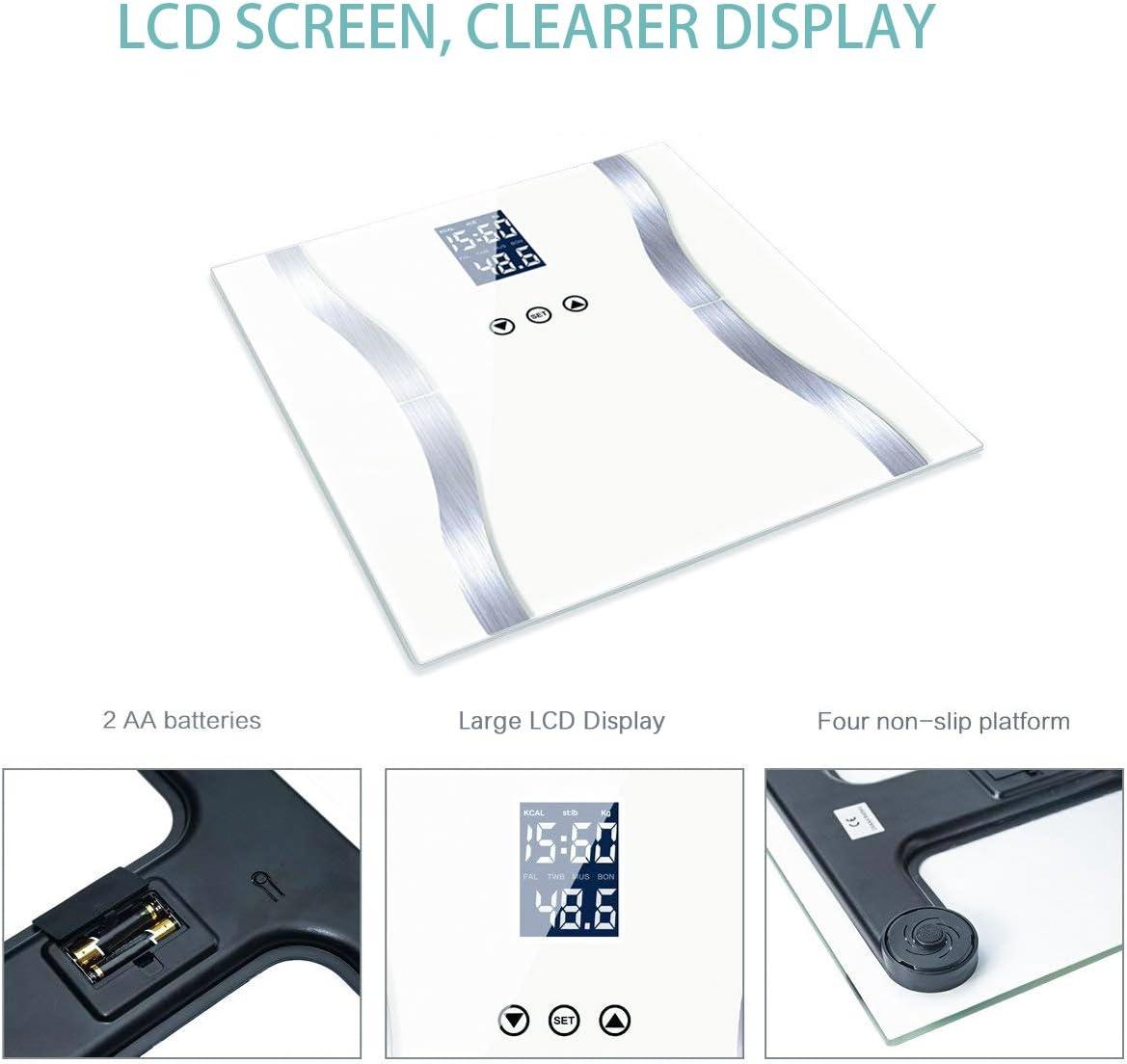 Báscula Digital de Baño, Fypo Bascula Grasa Corporal Inteligente con Cristal Templado, Capacidad de Peso 180 KG, Medidas Peso, Grasa, Agua, Hueso, Músculo y BMI de Pantalla LCD, 24 * 28 *