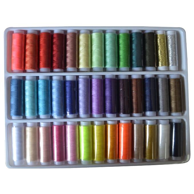 joyliveCY 39 Rolls Surtido Color Carretes hilo de algodón para máquina de coser manual: Amazon.es: Hogar