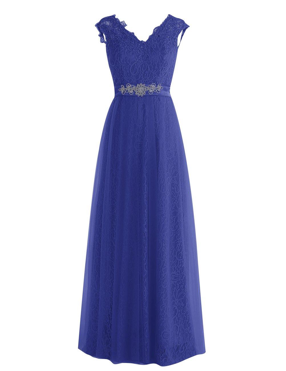 Dresstell レディーズ ロング丈 披露宴ドレス 結婚式ドレス 総レースのお呼ばれ フォーマルドレス キラキラビジュー付き ビスチェタイプ 編み上げの花嫁ワンピース 二次会ドレス ステージドレス B01M157CJ6 JP9|ロイヤルブルー ロイヤルブルー JP9