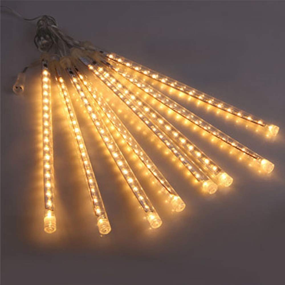 YULIANG Waterproof LED Meteor Lights, 50cm 10 Tubes 480 LED Falling Rain Drop Christmas Lights Indoor and Outdoor,Christmas, Wedding,Party,Holiday,Garden Tree Decoration (Warm White)