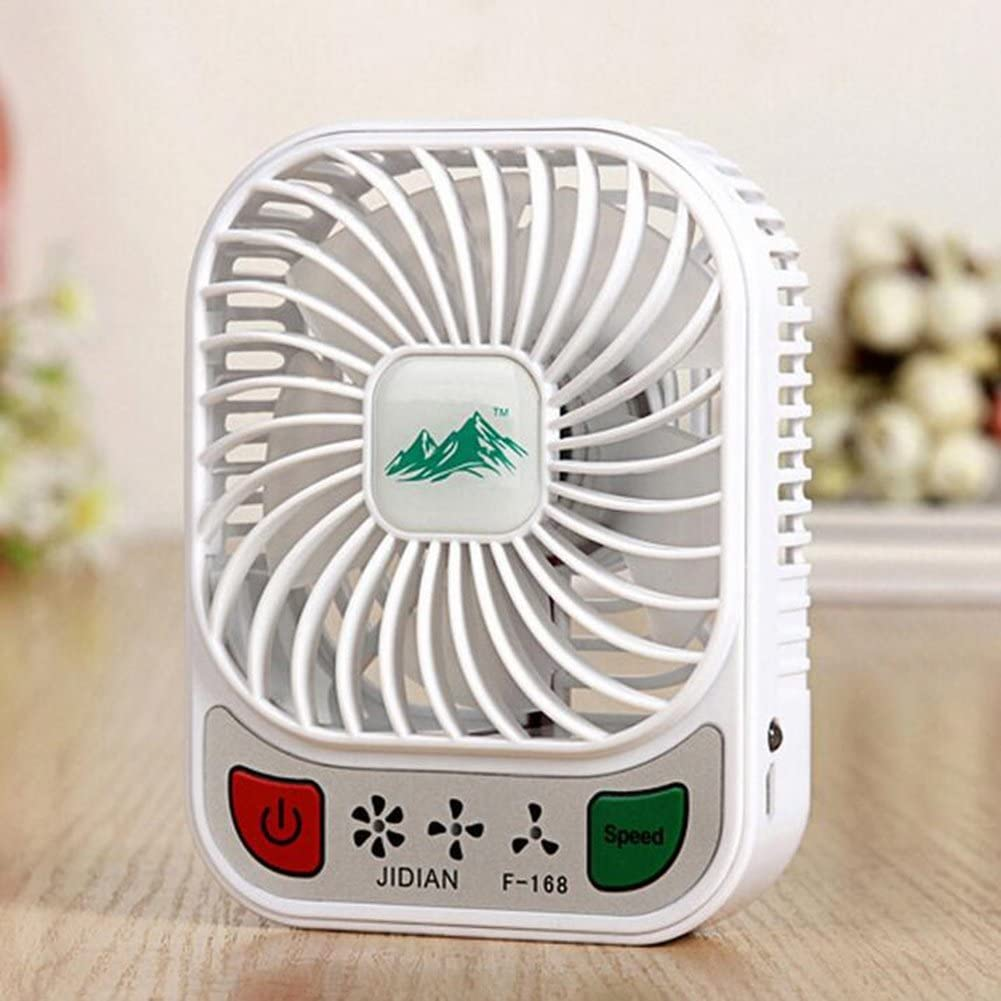 FJY Mini Fan Portable Handheld USB Desktop Personal Small Desk Fan Air Circulator,Rechargeable Battery,for Table Work Home Outdoor Office Laptop Computer Traveling Camping MN004 white
