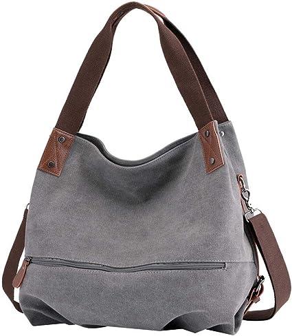 Huttoly Canvas Handtasche Damen, Umhängetaschen Tasche Vintage Schultertasche Crossbody Bag Tasche Shopper Beuteltasche (Grau)