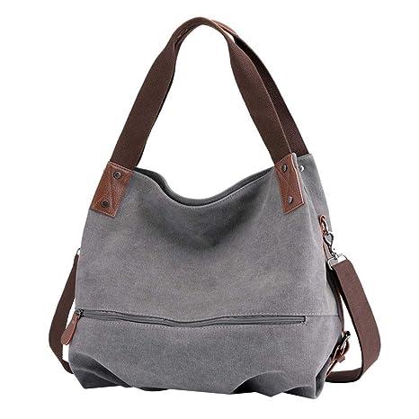 69a39b10bc2dd Huttoly Canvas Tasche Damen Umhängetaschen Handtasche Vintage Schultertasche  Crossbody Bag Tasche Shopper Beuteltasche (Grau)