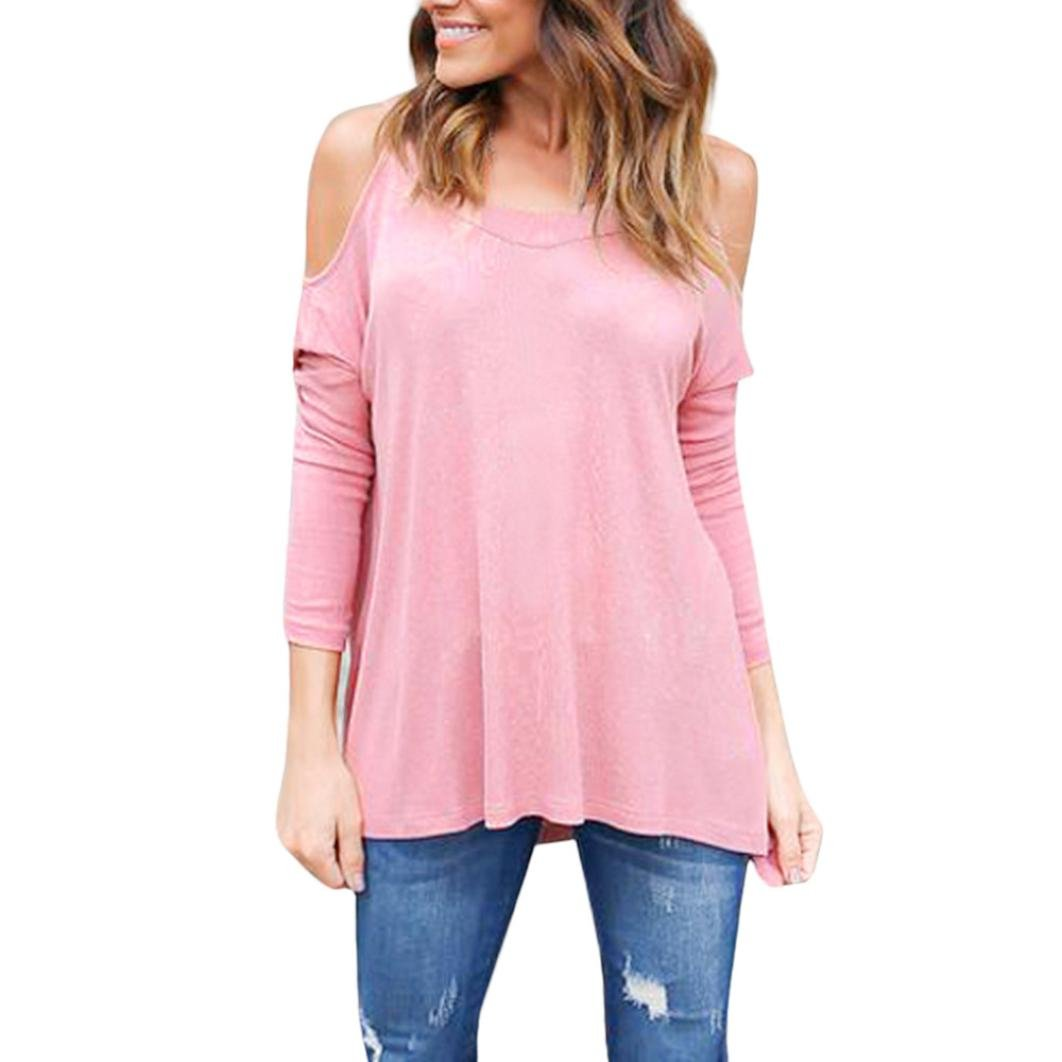 Teresamoon Clearance Sale Womens Cold Shoulder Loose Shirt Ladies Casual Cotton Tops 5156