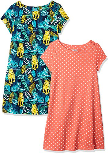 Amazon Brand - Spotted Zebra Girls' Big Kid 2-Pack Knit Short-Sleeve A-Line T-Shirt Dresses, Leopard Print, X-Large (12)