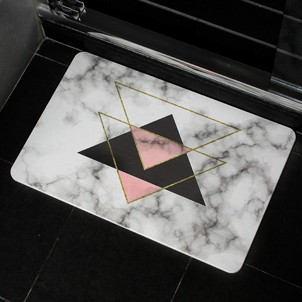 TOMSSL Triangle Pattern Natural Diatomaceous Earth Bath Mat Absorbent Water Quick-Drying Does Not Fade Furniture Versatile Brushed Surface Mat (Size : 3040)