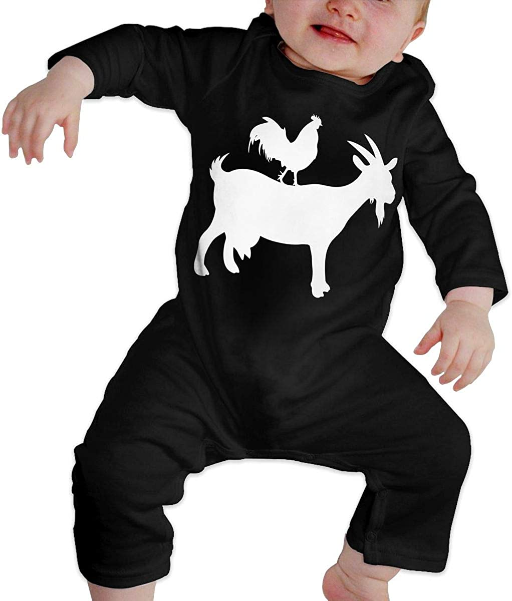 YELTY6F Goat and Rooster Printed Newborn Baby Boy Girl Jumpsuit Long Sleeve Romper Black