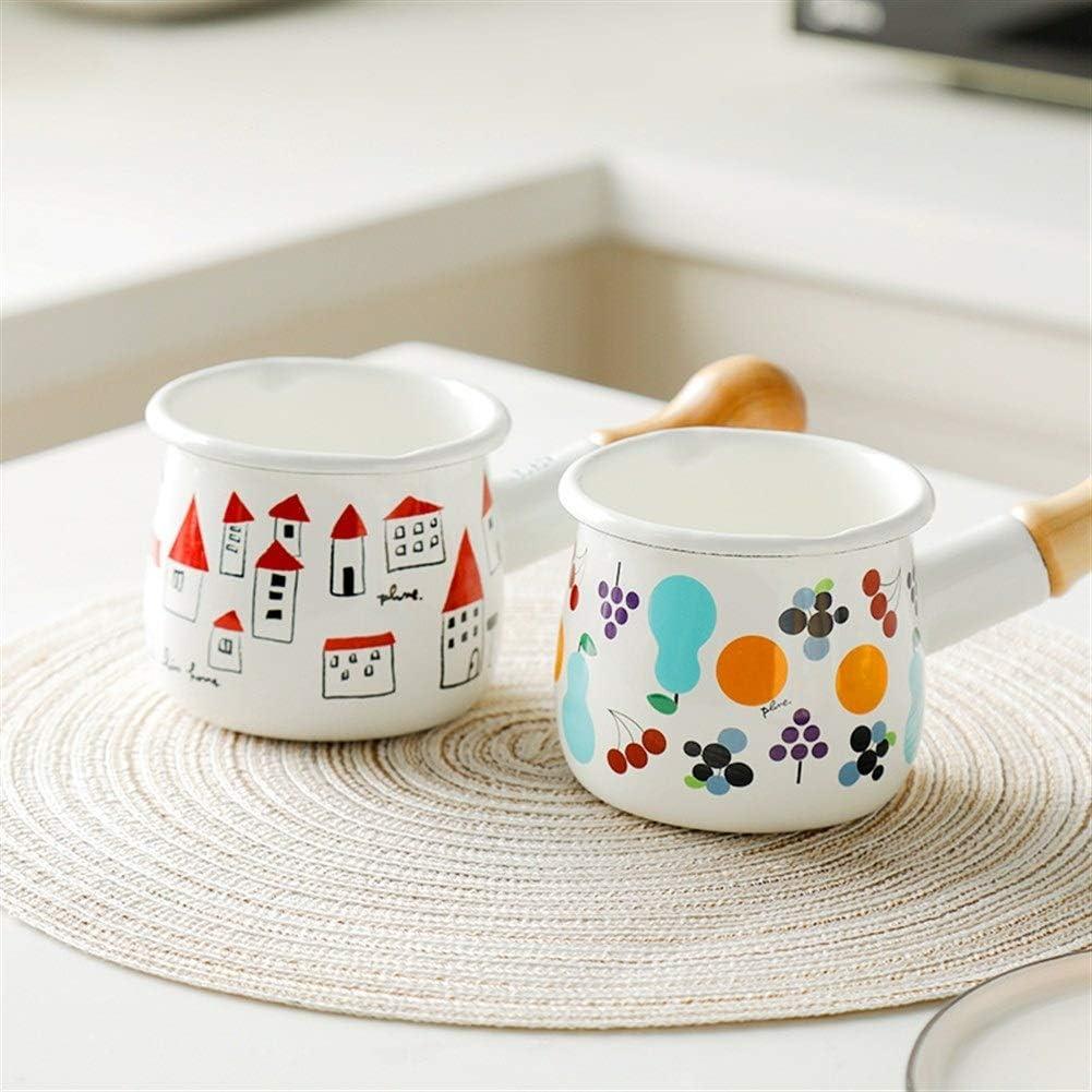Zjyfyfyf Milchtopf Milchkännchen Emaille Milchpfanne Mit Holzgriff for Kaffee Butter Milchtee Bequemlichkeit (Farbe : Red A) White A