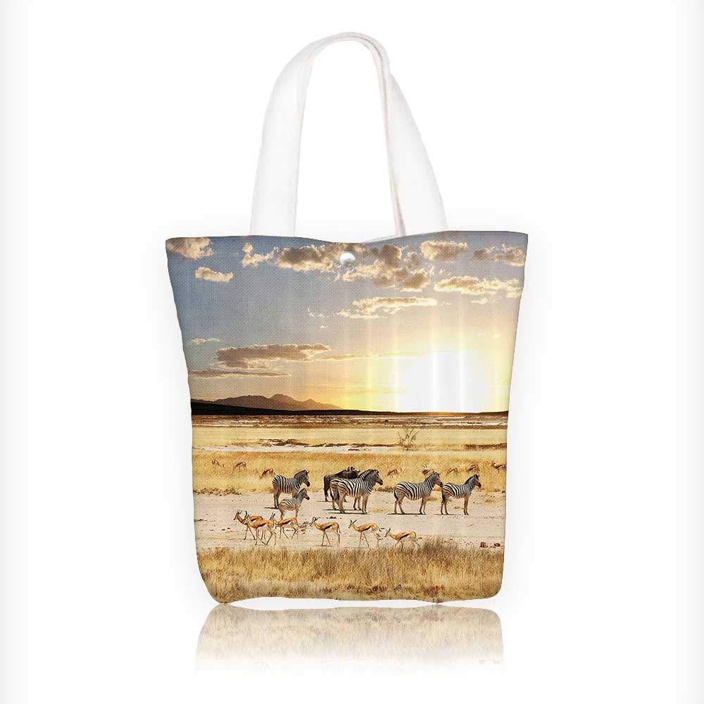Canvas Beach Bags Their Striped Coats in Savannahs SunAdventure Africa Wild Safari Totes for Women Zippered Beach Shoulder Bag W11xH11xD3 INCH