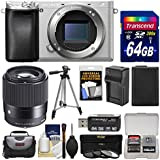 Sony Alpha A6300 4K Wi-Fi Digital Camera Body (Silver) with Sigma 30mm f/1.4 Lens + 64GB Card + Case + Battery & Charger + Tripod + Filters Kit