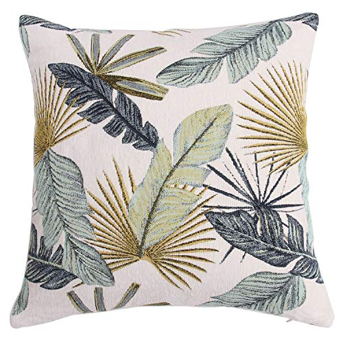 Yeiotsy Pillow Case, Decorative Tropical Leaf Throw Pillow Cover Heavy Fabric Jacquard Chenille (Yellow, 18 x 18 Inches) (Covers Tropical Throw Pillow)