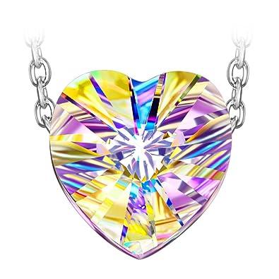 2fe21772f294 Susan Y Aurora Collar de Mujer Plata de Ley 925 con Cristales de Swarovski  Colgante de Corazon ...