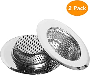 "Restlandee Kitchen Sink Drain Strainer 2-Pack, Stainless Steel Sink Strainer with Large Wide Rim 4.5"", Perforated Basket Drains Sieve for Sink Drain Straine, Kitchen Sink Strainer Dishwasher Safe"