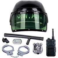 7pcs Set Kids Police Role Play Toy Set Children Cop Helmet Officer Costume Accessory Toy