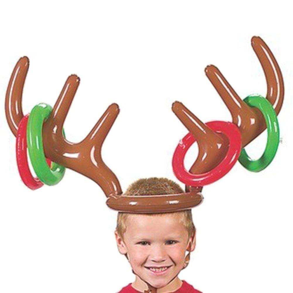 Sbarden Toss Game Inflatable Reindeer Antler Hat with Rings Throwing Toys Party Toss Game for Kids Family Outdoor Fun Toys with 4 Circles