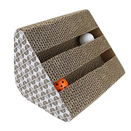 Cat-Scratcher-Cardboard-Myguru-Kitty-Cat-Scratching-Pad-Lounger-Toy-with-Inside-bell-Balls-and-1-Pack-Catnip