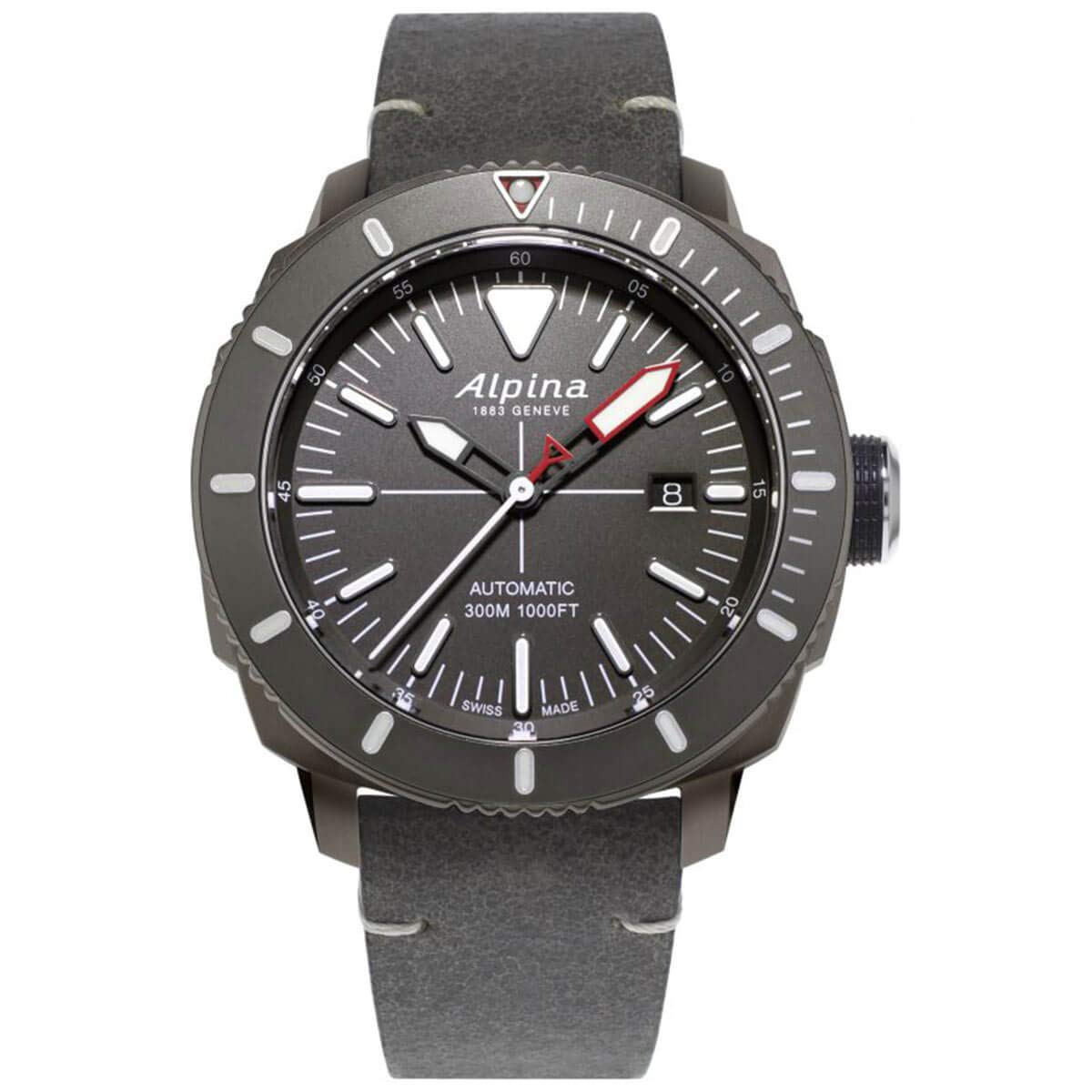Image of Alpina Men's Seastrong Diver Titanium/Stainless Steel Swiss Automatic Sport Watch with Leather Calfskin Strap, Gray, 22 (Model: AL-525LGGW4TV6) Sport Watches