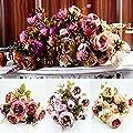 HeroNeo® 10 Head Bouquet Vintage Artificial Peony Silk Flower Room Wedding Floral Decor DIY