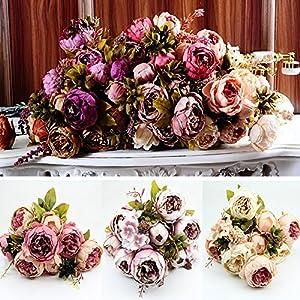 HeroNeo® 10 Head Bouquet Vintage Artificial Peony Silk Flower Room Wedding Floral Decor DIY 8