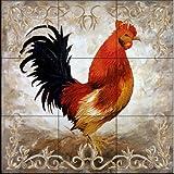 Ceramic Tile Mural - Rooster II - by Malenda Trick - Kitchen backsplash / Bathroom shower