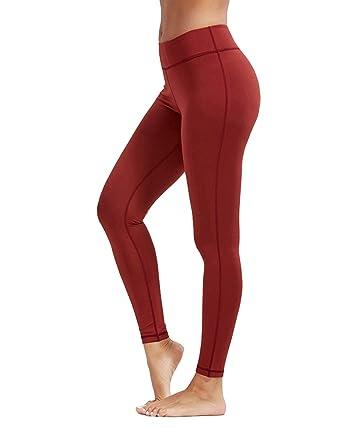 730ea307dc13 Kidsform Women Yoga Pants High Waist Performance Activewear Stretch Workout  Leggings Wine Red US 4