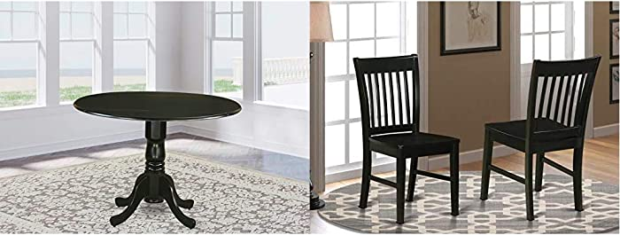 East West Furniture Dublin Table-Black Table Top Surface and Black Finish Pedestal Legs Hardwood Frame & Norfolk Kitchen Chairs - Wooden Seat and Black Solid Wood Structure Wooden Dining Chair (2)
