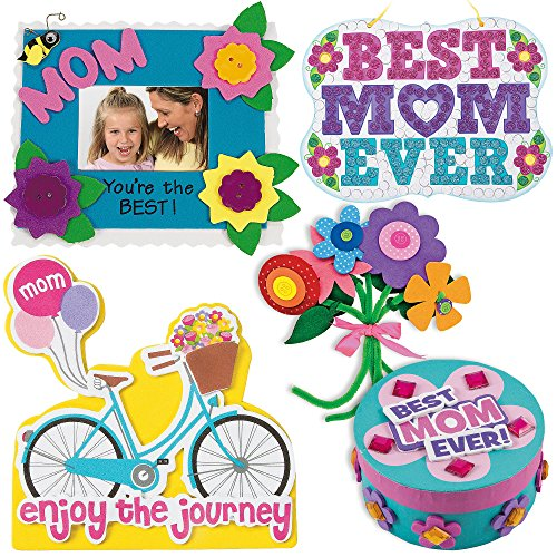 Mothers Day Craft Kit | Mum Picture Photo Frame, Self-Adhesive Flower Bouquet, Bike Magnet, Mom Glitter Mosaic Sign & Jewelry Box Craft | Kids DIY Classroom Daycare Homeschool Art Gift Toys Boys (Self Adhesive Felt Flowers)