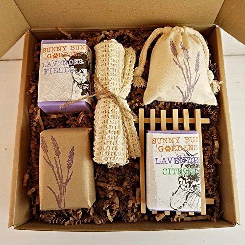 Lavender Soap Gift Box, Organic Lavender Bud Infused Soap, All Natural Lavender Soap Set, Vegan Lavender Soap, Lavender Soap Basket by Sunny Bunny Garden's