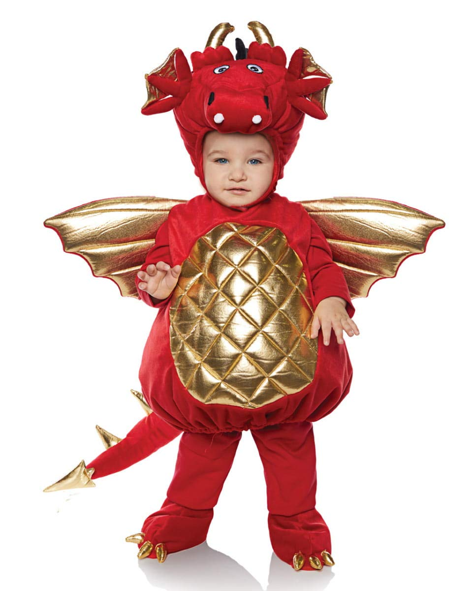 Horror-Shop Roter Drache Baby- & Kleinkinderkostüm für Halloween M