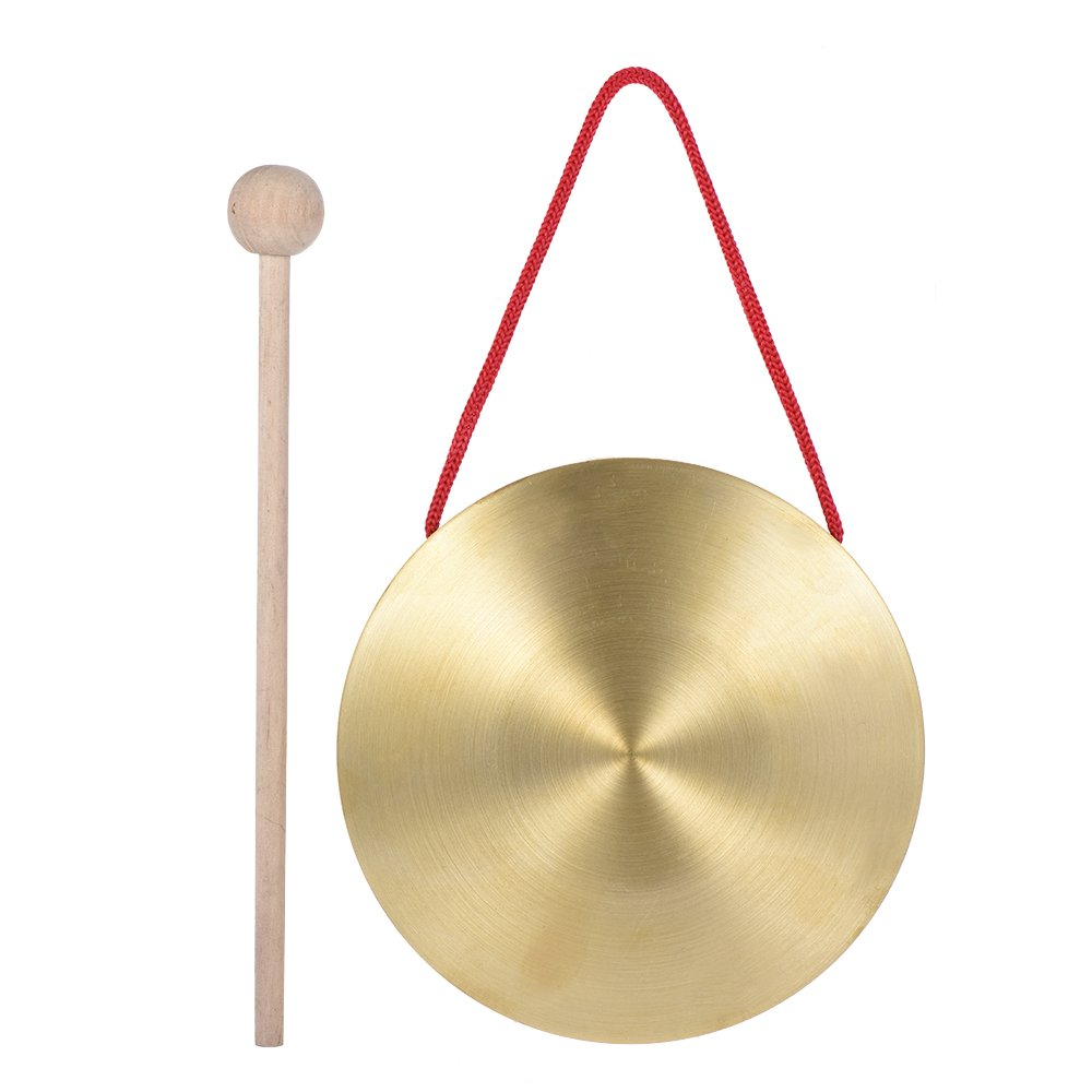 ammoon 15cm Hand Gong Cymbals Brass Copper Chapel Opera Percussion Instruments with Round Play Hammer