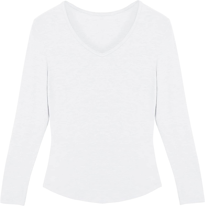 3 Packs Camisetas Manga Larga Mujer Camisetas Mujer de Algod/ón Camisetas Mujer Manga Larga Cuello Pico Camisetas Interior Mujer Manga Larga Cuello V