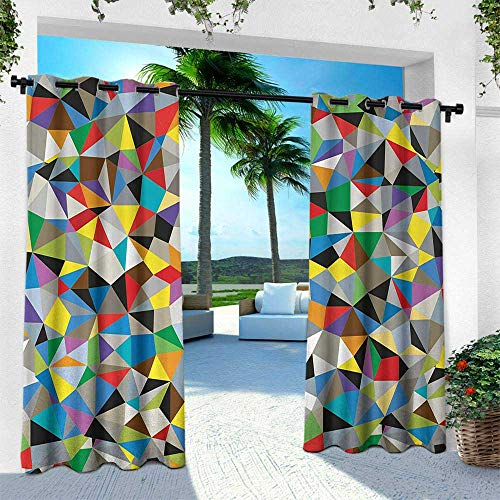 Hengshu Abstract, Outdoor Privacy Porch Curtains,Geometric Chaos Triangular Mosaic Polygonal Fractal Contemporary Modern Design, W108 x L84 Inch, Multicolor