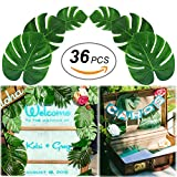 Soyee Tropical Palm Leaves, DIY Waterproof Artificial Leaf Placemats and Table Runners for Hawaiian Luau Tropical Party Decoration, Jungle Party Supply Table Decoration Accessories-36pcs (L/M/S Size)