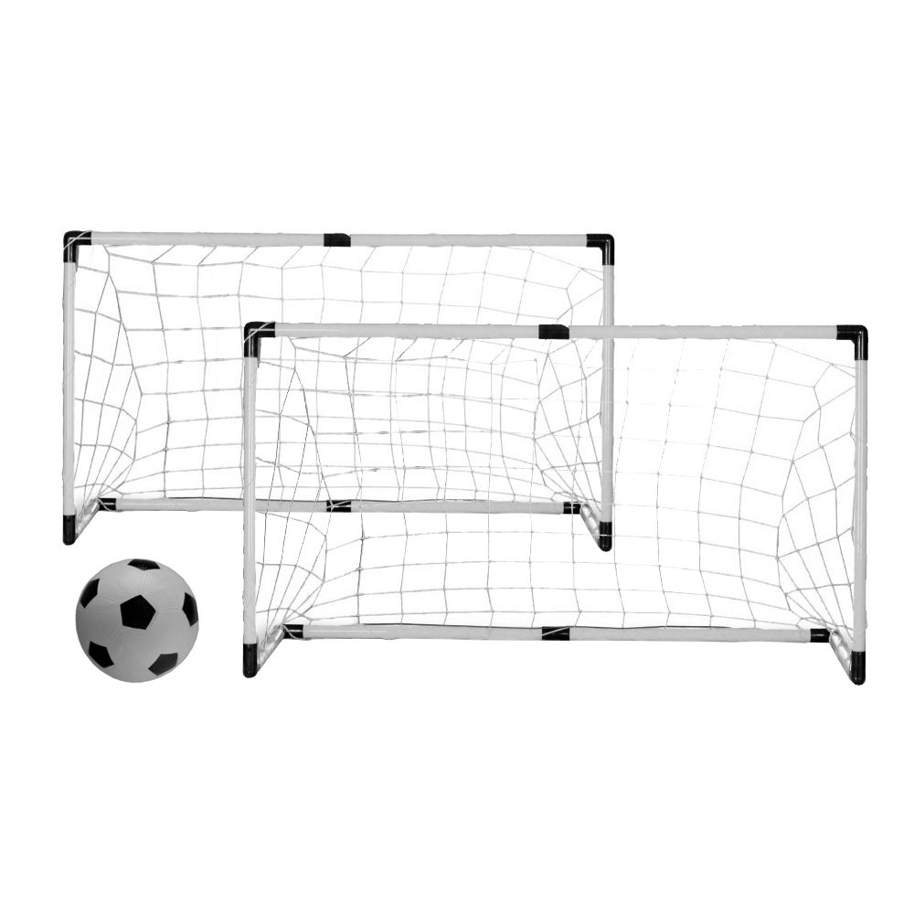 Vandue Twin Soccer/Hockey goals with Nets, Stakes and Ball and Pump, 6'', White