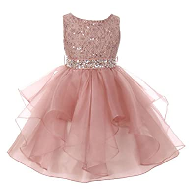 b9f2858ca54a My Best Kids Big Girls Blush Pink Lace Crystal Tulle Ruffle Flower Girl  Dress 7/