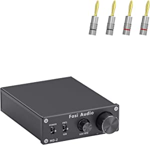 Fosi Audio M02 Subwoofer Amplifier Mono Channel Home Theater Power Amp 100W and Banana Plugs 2 Pairs / 4 pcs