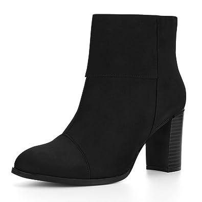 Allegra K Damen runde Zehe gestapelt klobige Absatz Reißverschluss Knöchel Stiefel, Schwarz/EU 36.5